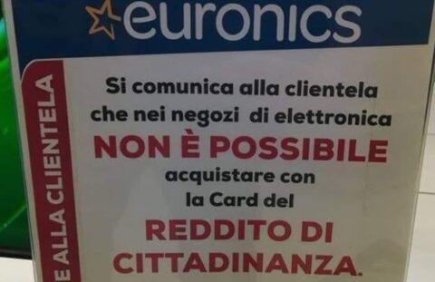 euronics cartello reddito di cittadinanza